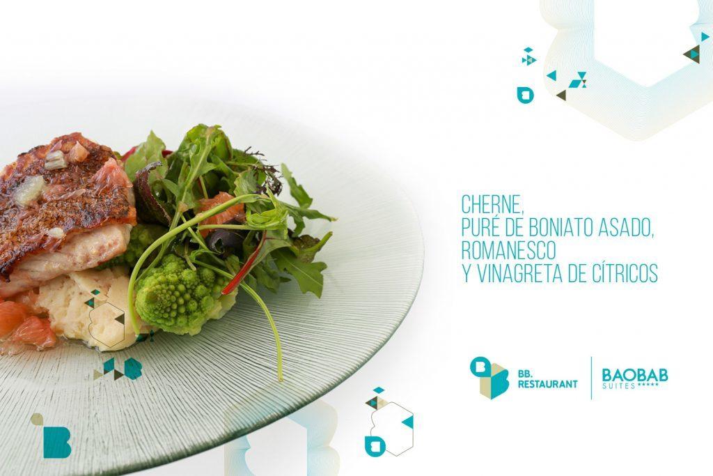 Cherne puré de Boniato asado
