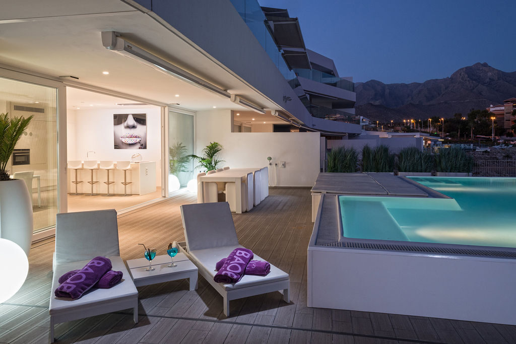 Luxury Harmony terrace at night