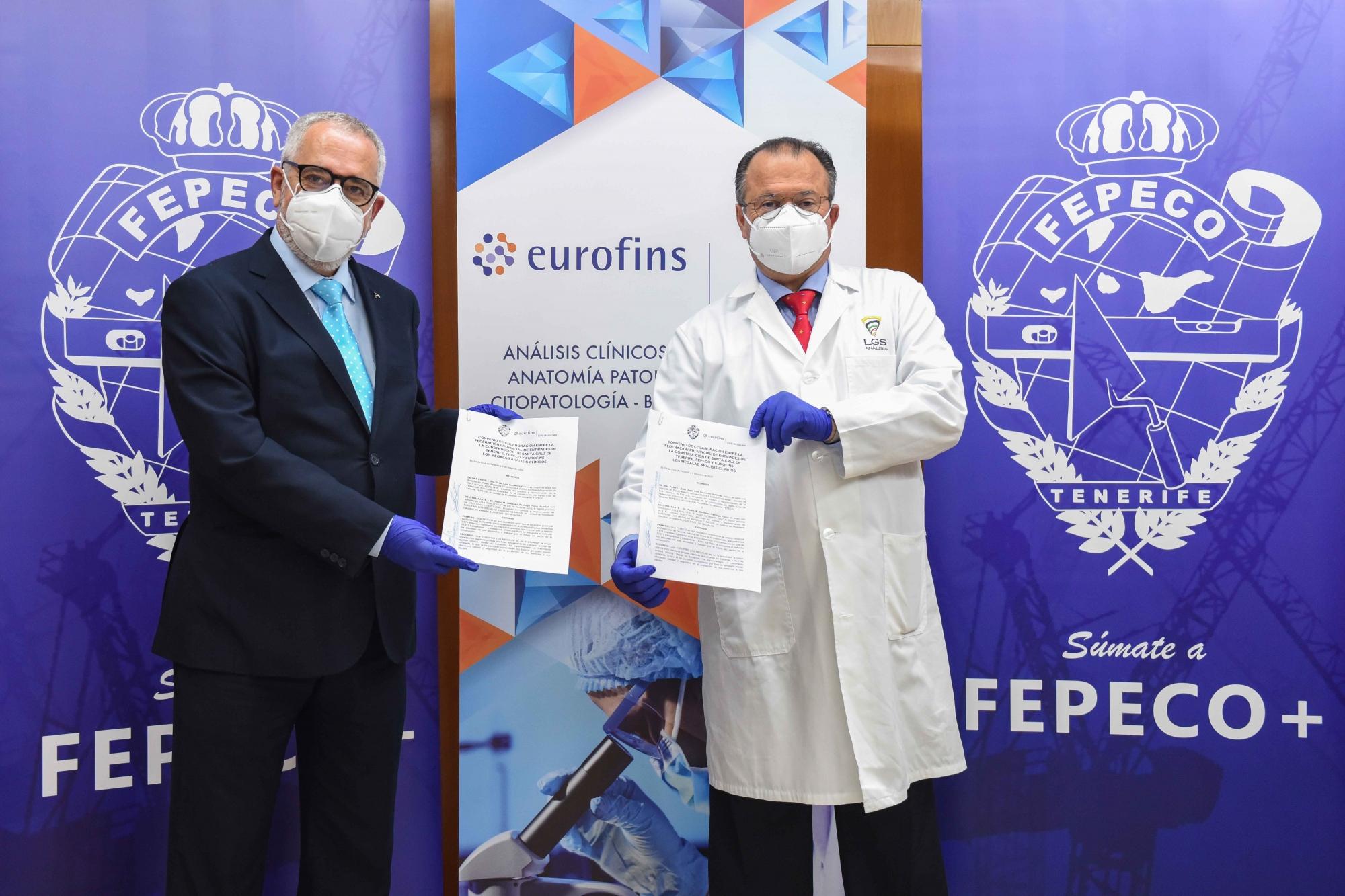 Oscar Izquierdo, presidente de FEPECO, y el Dr. Pedro González Santiago, presidente ejecutivo de EUROFINS LGS MEGALAB ANÁLISIS CLÍNICOS